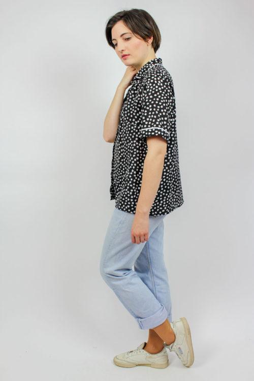 Bluse schwarz weiß Secondhand