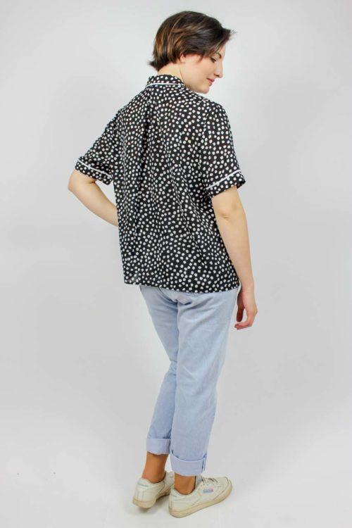 Bluse schwarz weißes Muster