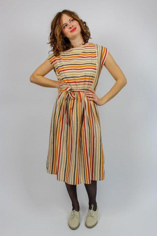 Gestreiftes Kleid Orange braun