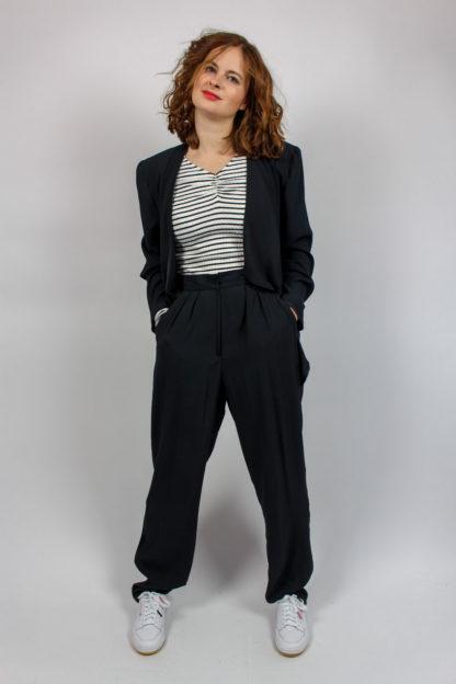 Hose Jacke schwarz glänzend