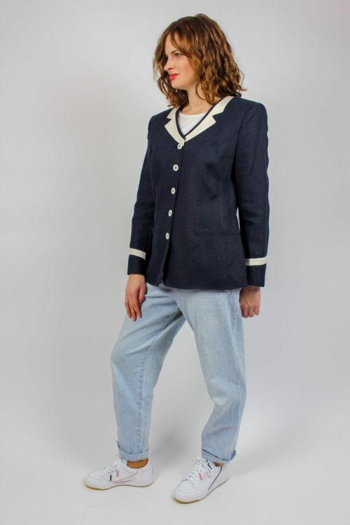 Jacke blau weiß Secondhand