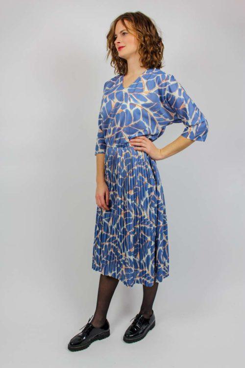 Kleid blau 80er Secondhand