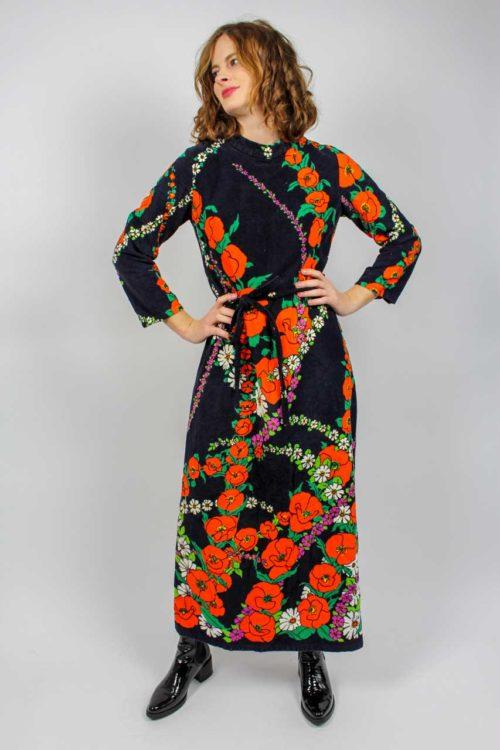 Kleid lang schwarz bunt