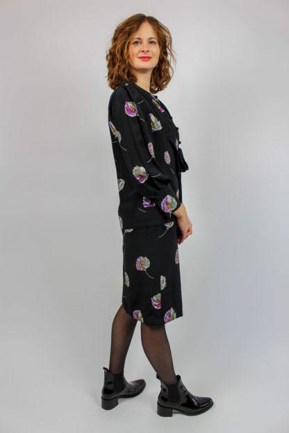 Kleid schwarz floral