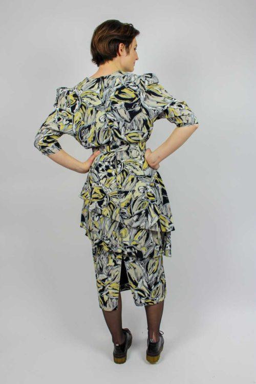 Kleid schwarz gelb