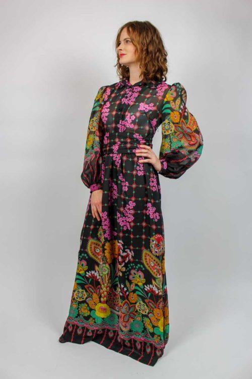 Kleid schwarz lang Muster