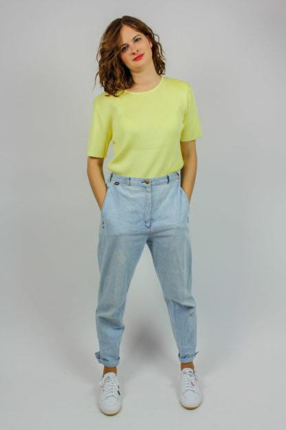 Kurzarmpullover gelb Secondhand