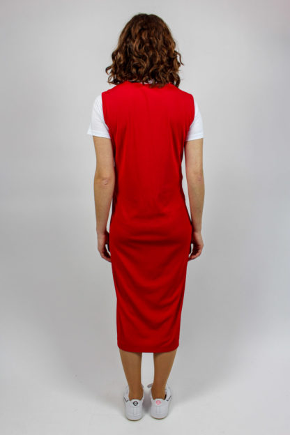 Midikleid rot breite Träger