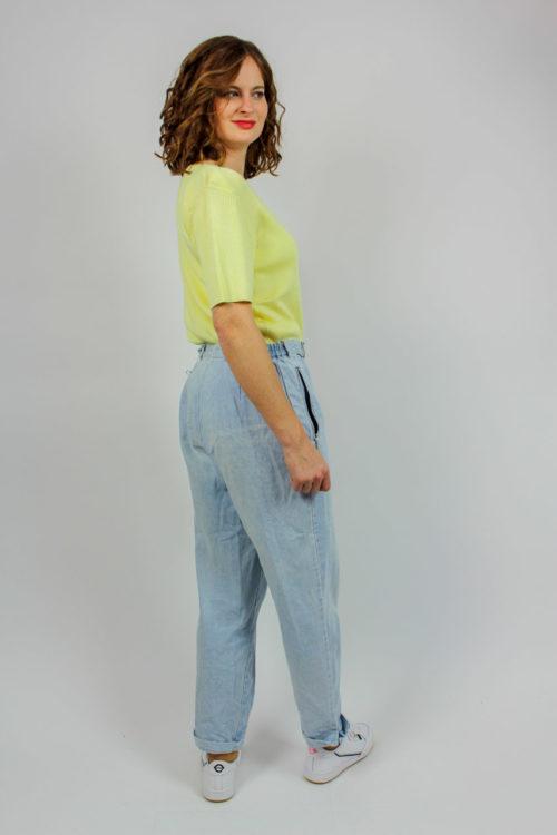 Pullover gelb Rippstruktur