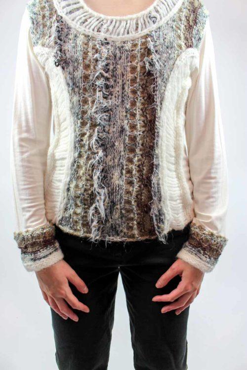 Pullover weiß braun