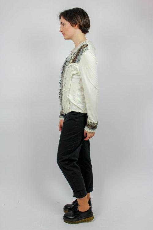 Pullover weiß braunes Muster
