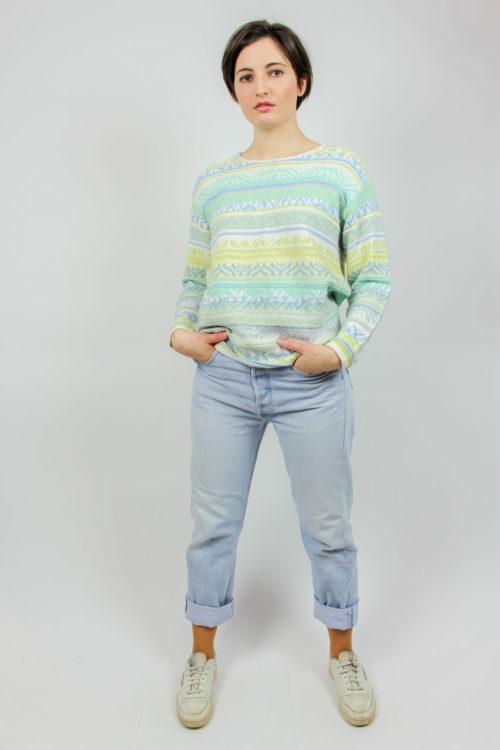 Pullover weiß grün blau