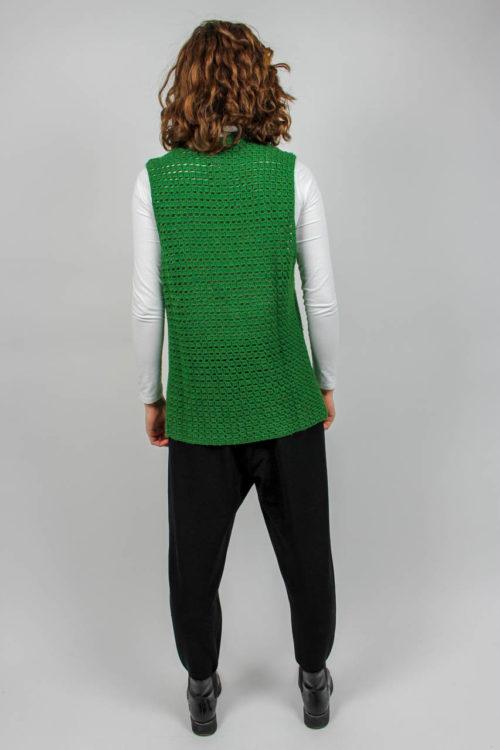 Strickweste grün Lochmuster