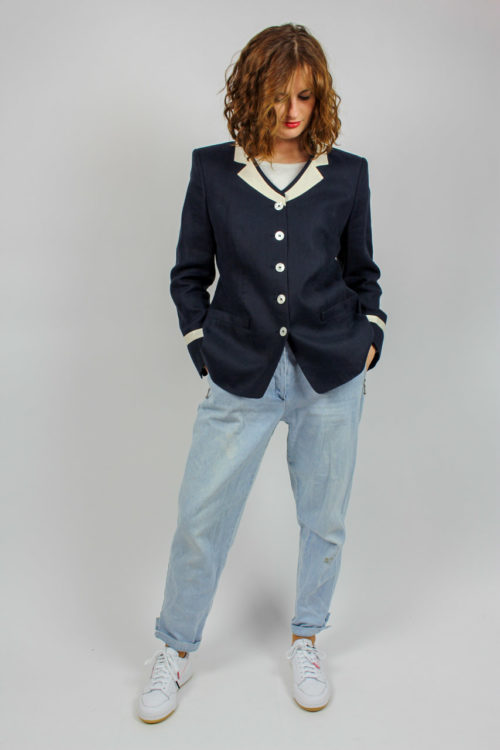 Vintage Blazer Blau weiß