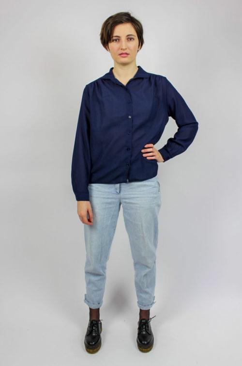 Vintage Bluse dunkelblau