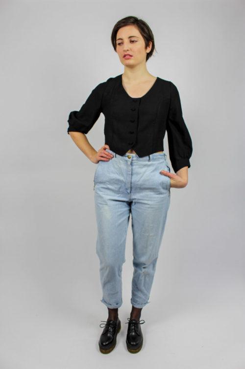Vintage Bluse schwarz