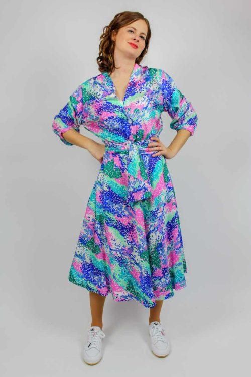 Vintage Kleid blau rosa