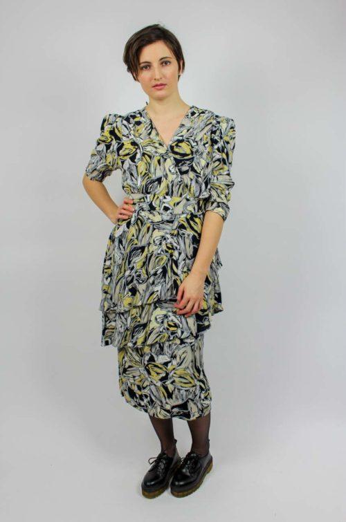 Vintage Kleid grau gelb