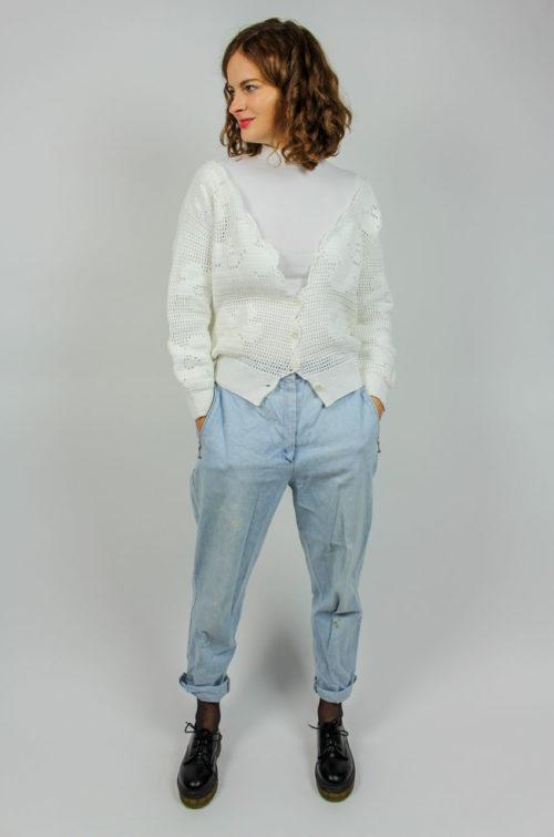 Vintage Strickjacke weiß