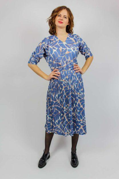 weiß blaues Kleid 80er Jahre