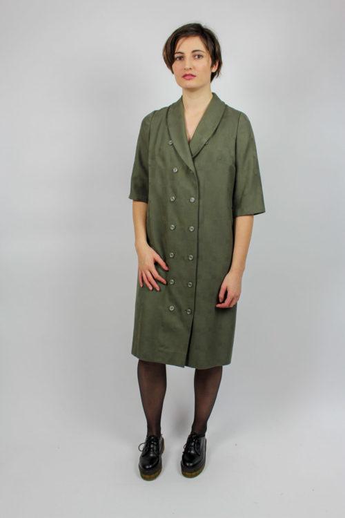 dunkelgrünes Kleid kurzarm