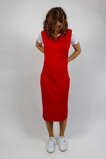 rotes Kleid midi
