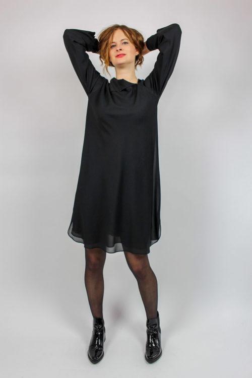 schwarzes Kleid 80 er Jahre Jil Sander