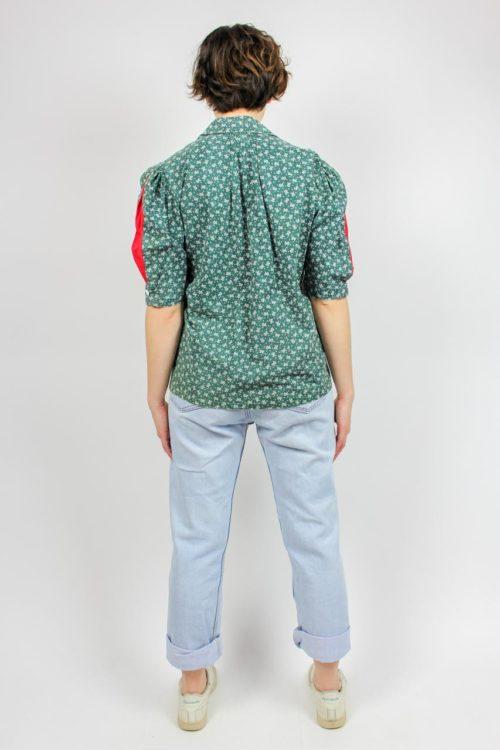 Bluse grün weiß rot
