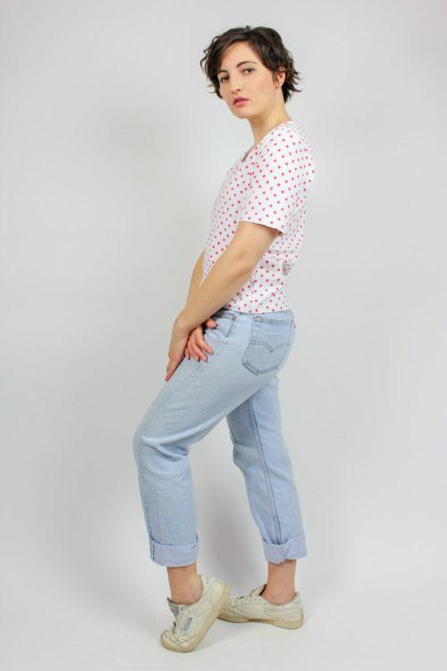Damenshirt weiß Punktemuster