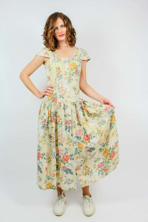 Florales Kleid beige