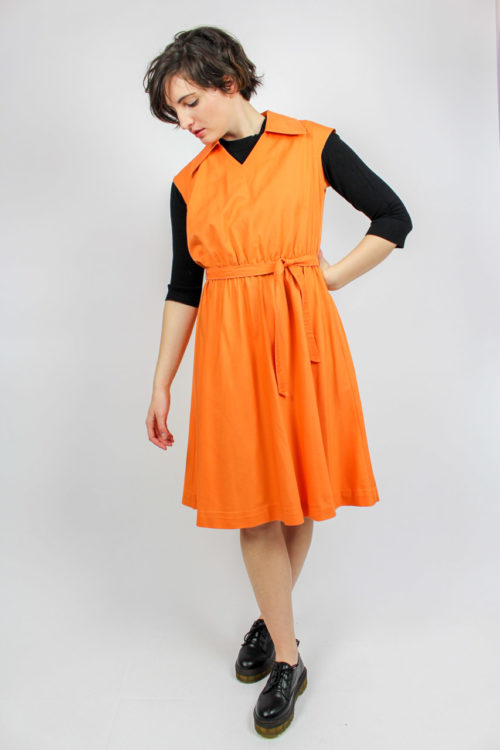 Kleid ärmellos orange