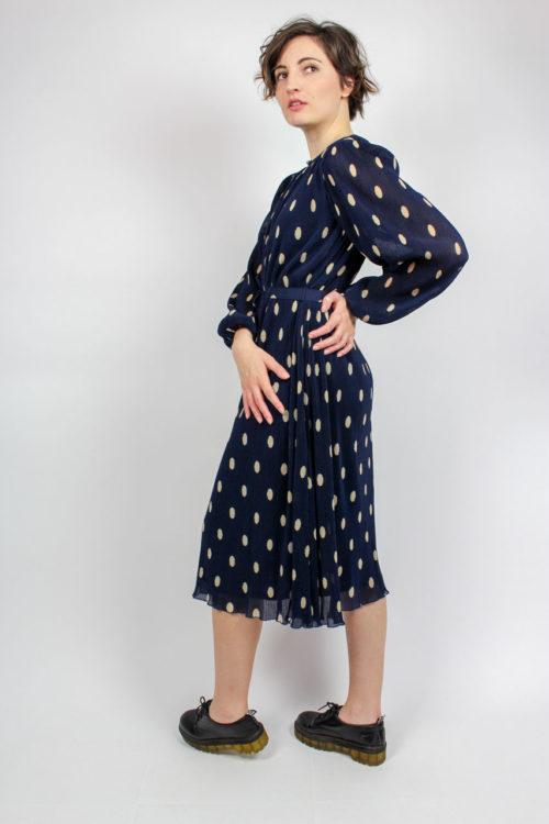 Kleid blau Puffärmel