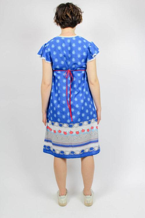 Kleid blau weiß