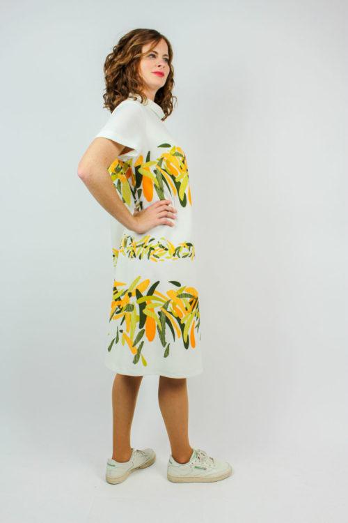 Kleid weiß Blattmuster