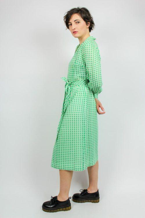 Langarmkleid grün weiß
