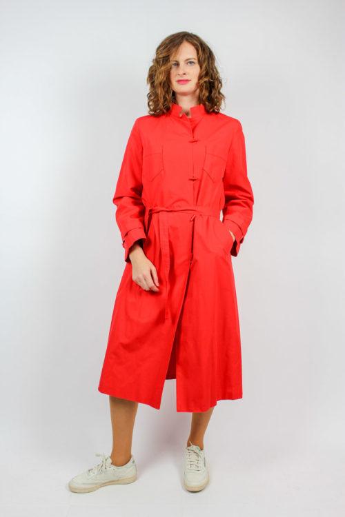 Mantel rot mit Gürtel