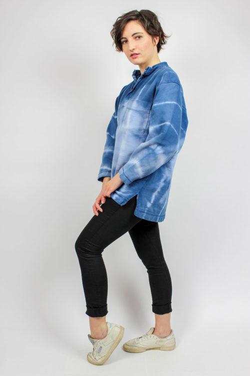 Pullover blau Batikmuster