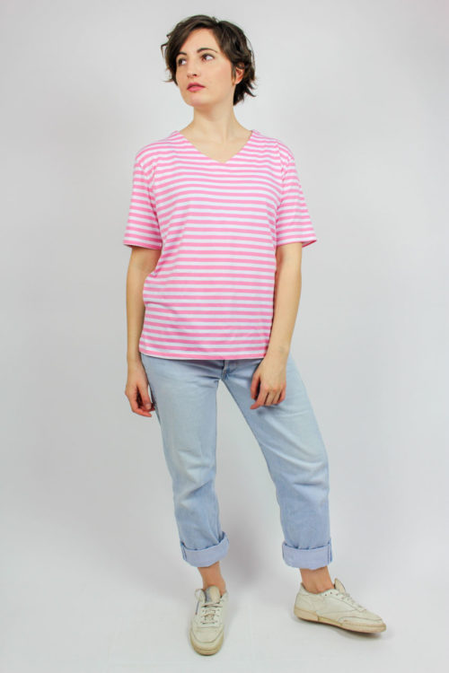 T-Shirt rosa weiß gestreift