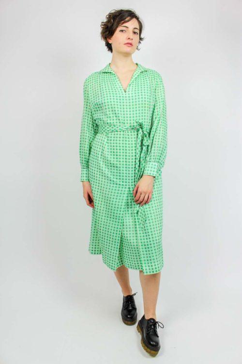 Vintage Kleid grün weiß