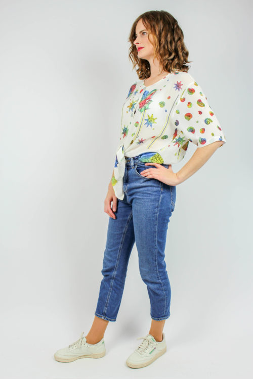 Bluse creme Muster
