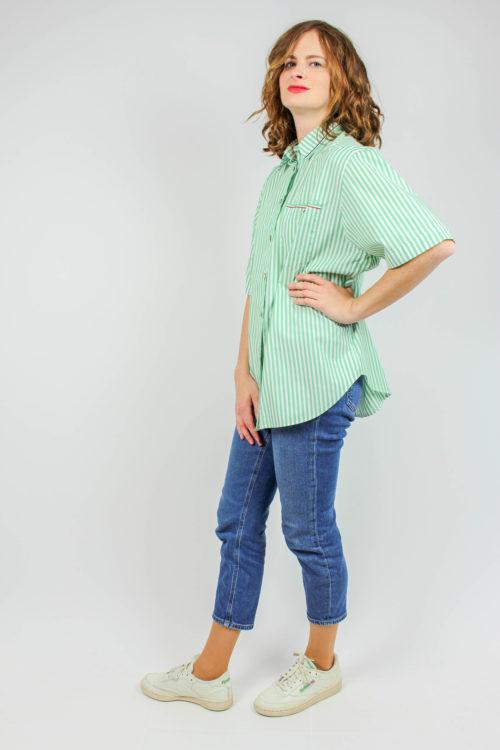 Bluse grün weiße Streifen