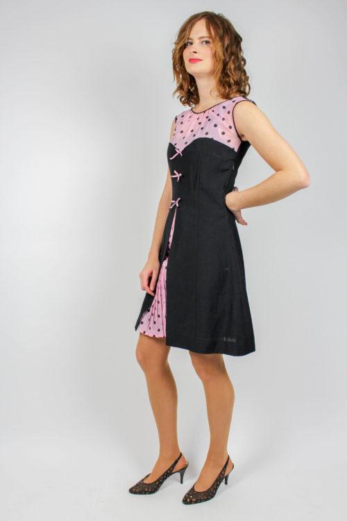 Kleid schwarz rosa Unterkleid