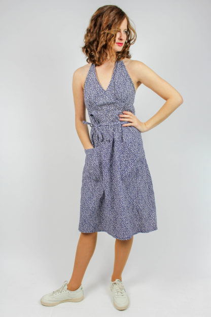 Vintage Kleid blau weiß