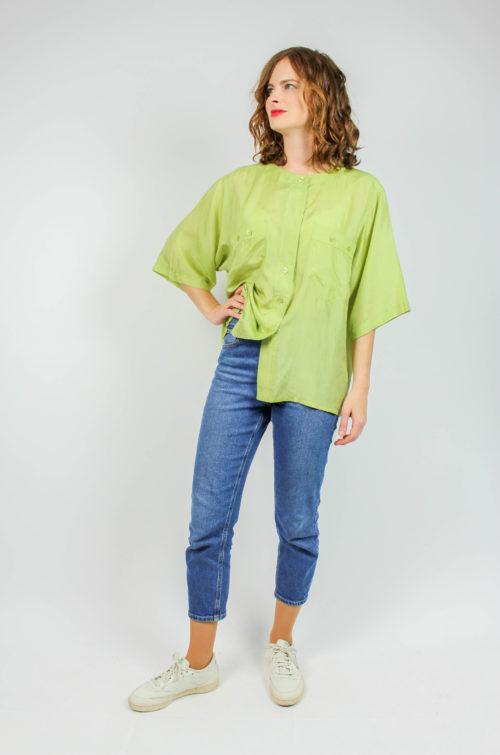 Vintage Seidenbluse grün