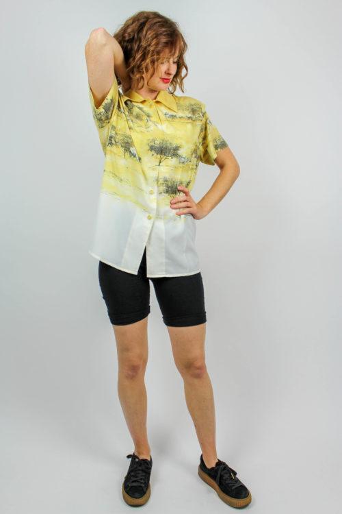 Bluse Safarilook gelb weiß