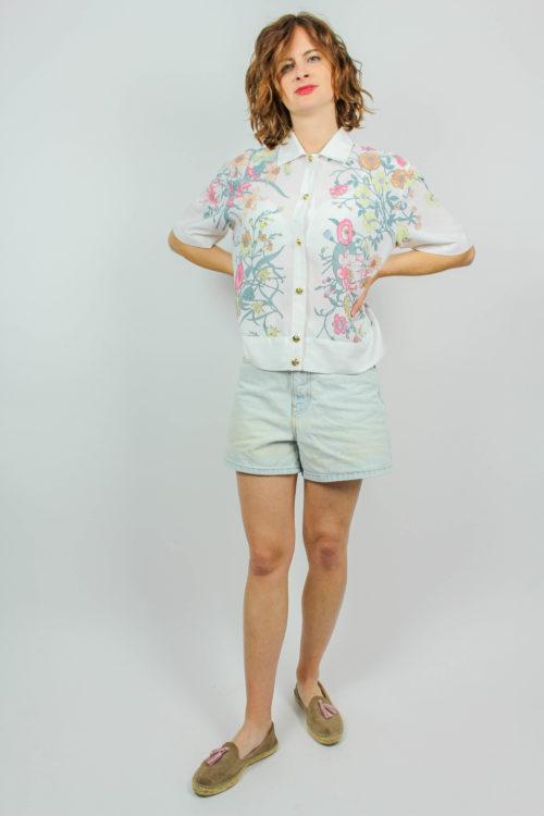 Bluse weiß florales Muster