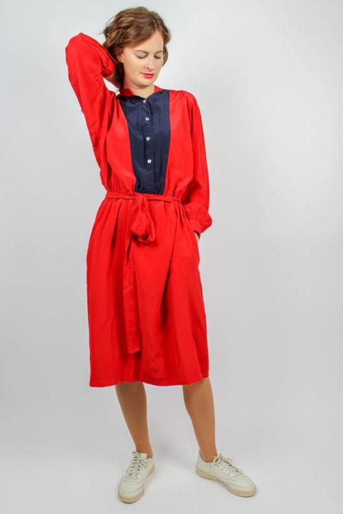 Kleid rot Puffärmel