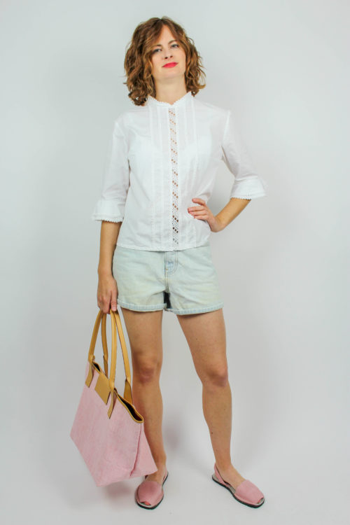 weiße Bluse Rüschen