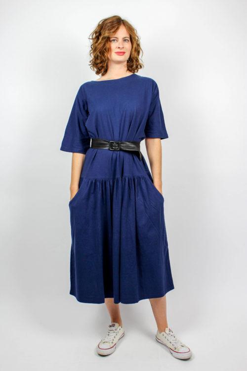 Blaues Kleid kurzarm Kirsten Lundbergh