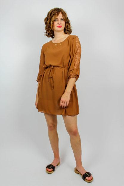Kleid braun mit Spitze